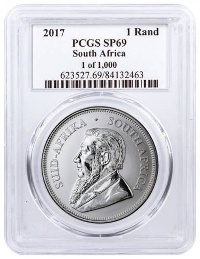 2017 South Africa 1 oz Silver Krugerrand Premium Uncirculated Coin PCGS SP6